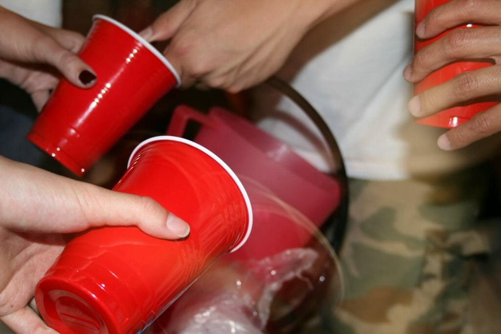 Red cups and a keg