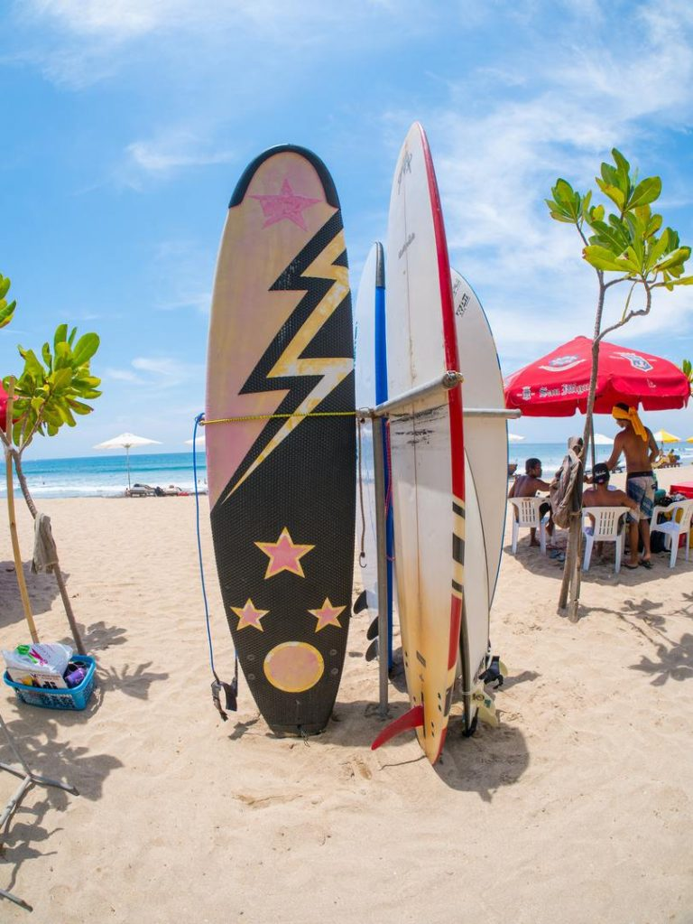 Surfboards on the famous beach on Kuta in Bali Indonesia